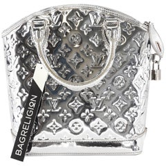 Louis Vuitton Monogram Miroir Lockit Handbag in Silver with Silver Hardware