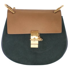 Chloe Medium Drew Shoulder Bag in Tri Colour Leather and Suede w/ Gold Hardware