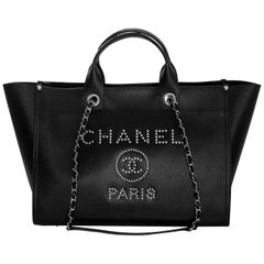 Chanel Black Grained Calfskin Studded Medium Deauville Tote Bag, 2018