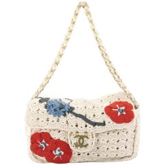 Chanel Camellia Crochet Flap Bag Fabric Small