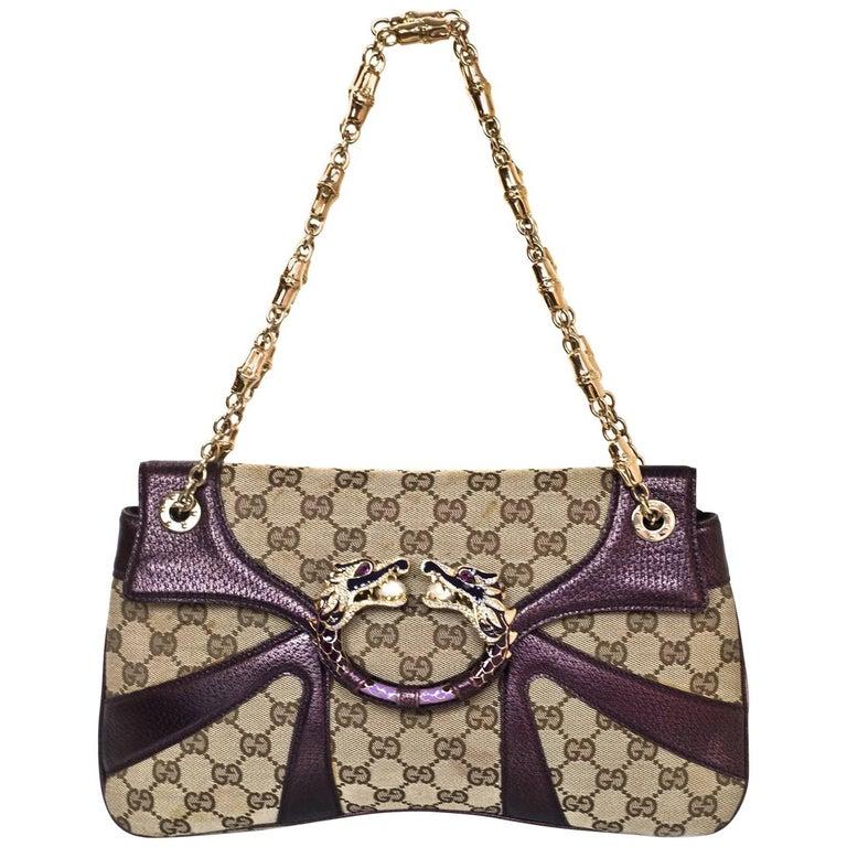 231cb53b04db Gucci Beige GG Canvas   Purple Leather Tom Ford Dragon Shoulder Bag w. Dust  Bag