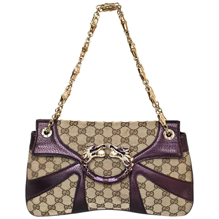 47ee004f836 Gucci Beige GG Canvas   Purple Leather Tom Ford Dragon Shoulder Bag w. Dust  Bag