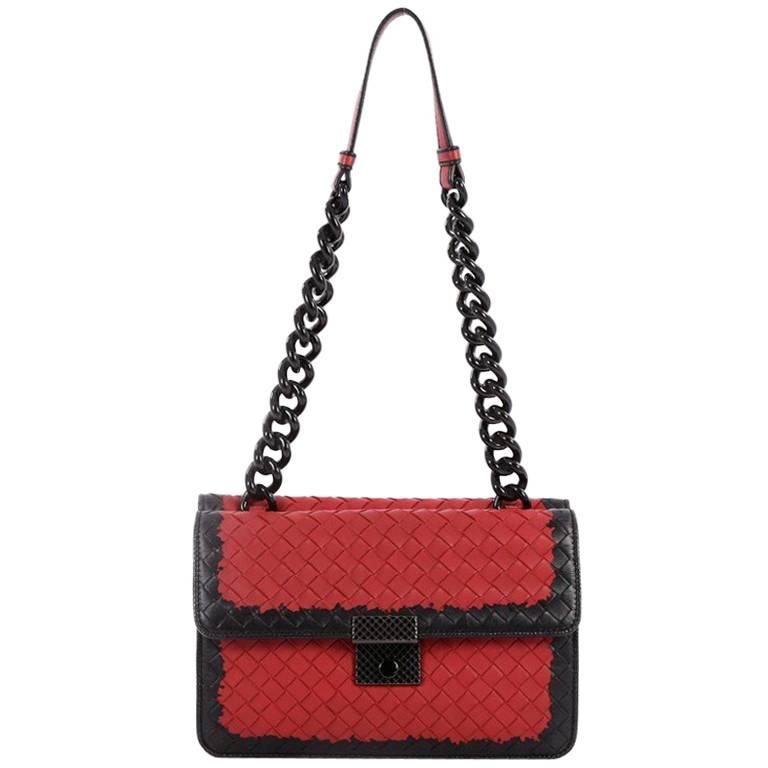 Bottega Veneta Glass Shoulder Bag Intrecciato Nappa with Snakeskin Small