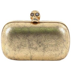 Alexander McQueen Skull Box Clutch Crackled Leather Small