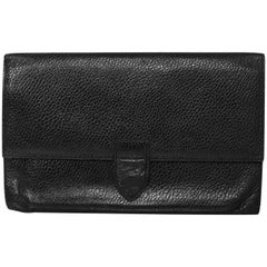 Smythson Black Leather Travel Wallet/Clutch Bag