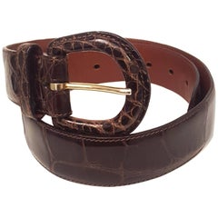 Ralph Lauren Brown American Alligator Wide Belt