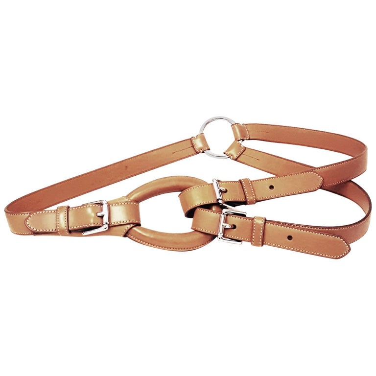 Ralph Lauren Camel Color Leather Loop with Double Buckle Leather Belt