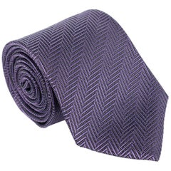 "Tom Ford Geometric Tonal Zip Zag 3.25"" Silk RTL$260 Purple Tie"