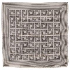 "Louis Vuitton Grey Silk Trunks 18"" Scarf"