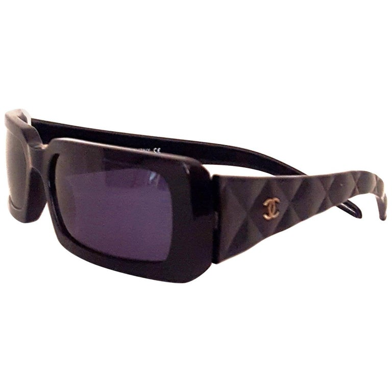 Chanel Black Rectangular Thick Frame Sunglasses with Quilted Arms ...