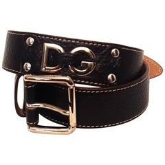 Dolce & Gabbana Black Pebbled Leather Belt  Logo on Belt and Silver Tone Buckle