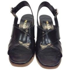 Prada Black Leather Heeled Sandal