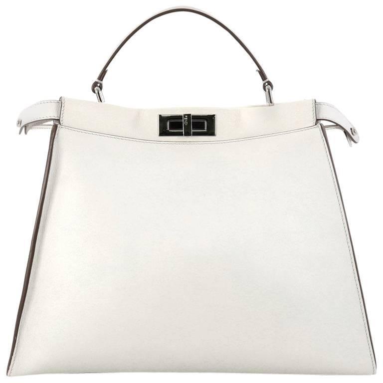 Fendi Peekaboo Monster Handbag Leather with Fur Interior Large