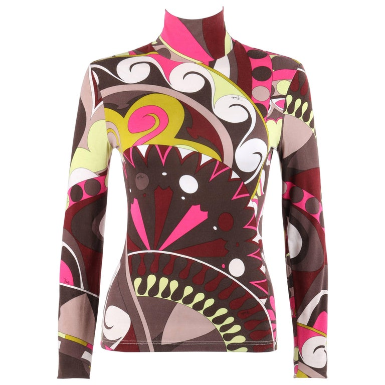 EMILIO PUCCI Brown Multicolor Op Art Signature Print Jersey Knit Turtleneck Top