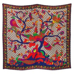 Gucci Monogram Silk Scarf with Bird/Floral Pattern