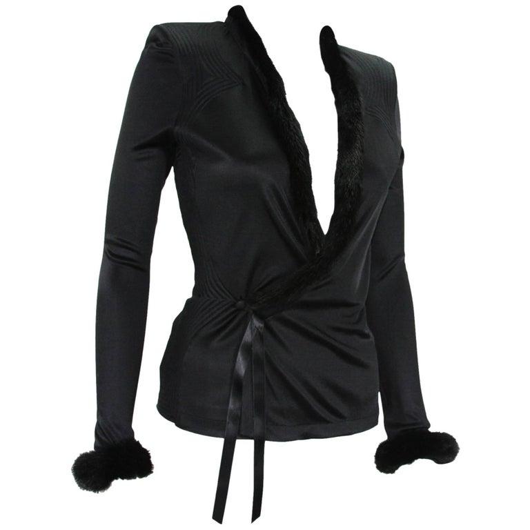 New Tom Ford for Yves Saint Laurent F/W 2004 Black Mink Trim Top Jacket M