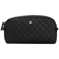 Chanel Black Caviar Leather Double Zip Cosmetic / Toiletry Case Bag