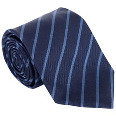 "Tom Ford Dark Light Blue Stripped 3.25"" 100% Silk Tie"