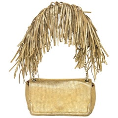 Christian Louboutin Gold Artemis Fringe Shoulder Bag w. Dust Bag