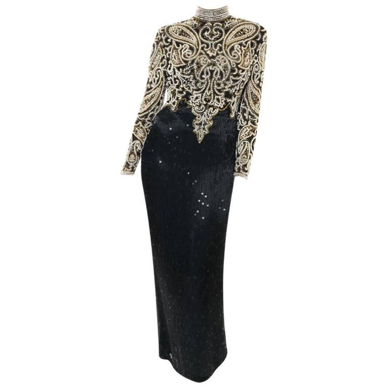 Naeem Khan Beaded Sequin Black White and Gold Gown, 1980s