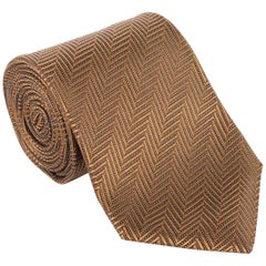 "Tom Ford Geometric Tonal Zip Zag 3.25"" Silk RTL$260 Brown Tie"