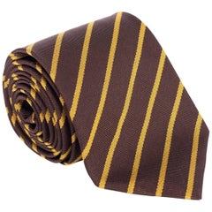 "Tom Ford Mens Brown Stripped 100% Silk 3.25"" Classic Tie"