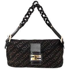 Fendi Back Velvet Zucca Baguette Bag w. Dust Bag