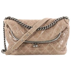 Chanel Tabatiere Kisslock Fold Over Bag Quilted Aged Calfskin Large