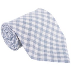 "Tom Ford Mens Plaid Check Ivory Blue Cotton 4"" Classic Tie"