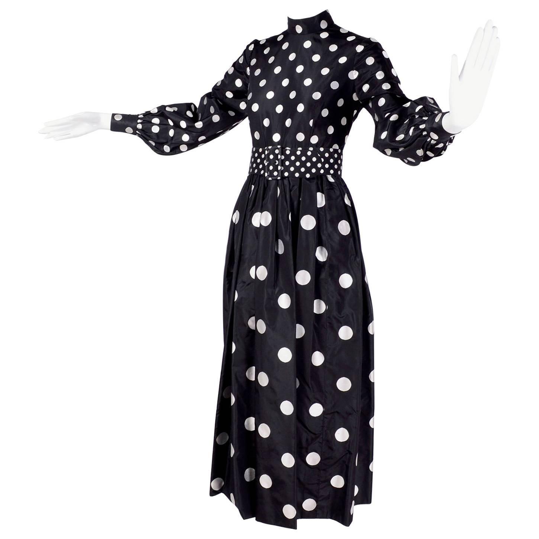 1960s Norman Norell Vintage Dress in Black Taffeta W/ Polka Dots w/ Provenance