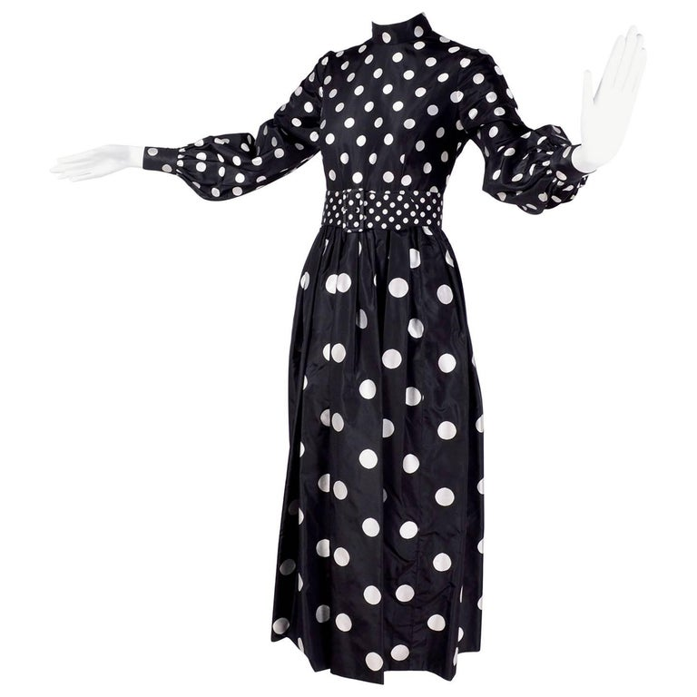1960s Norman Norell Vintage Dress in Black Taffeta W/ Polka Dots w/ Provenance For Sale