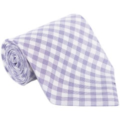 "Tom Ford Mens Plaid Check Ivory Purple Cotton 4"" Classic Tie"