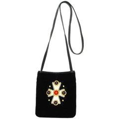 Yves Saint Laurent YSL Vintage Black Velvet & Gold Maltese Crossbody Bag