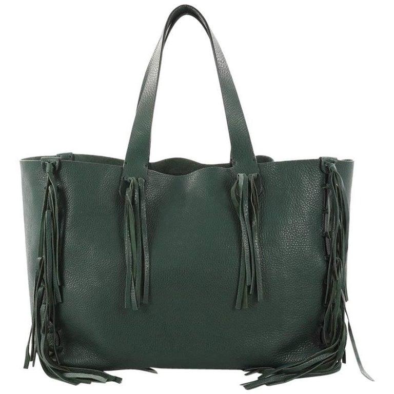 Valentino C-Rockee Fringe Tote Leather Medium