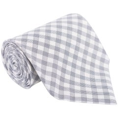 "Tom Ford Mens Plaid Check Ivory Dark Grey Cotton 4"" Classic Tie"