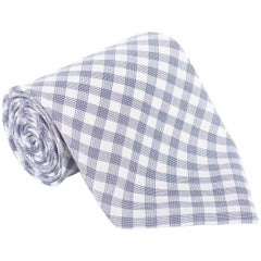 "Tom Ford Mens Plaid Check Ivory Navy Cotton 4"" Classic Tie"