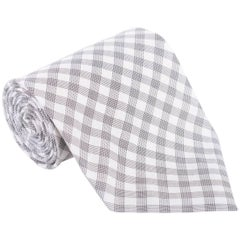"Tom Ford Mens Plaid Check Ivory Light Grey Cotton 4"" Classic Tie"