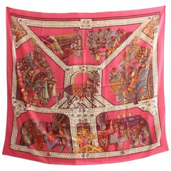 Hermes 140cm La Danse du Cheval Marwari Rose Vif Cashmere Silk Shawl