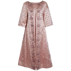 1951 Christian Dior Haute-Couture Beaded Lesage Embroidery Pink Satin Coat