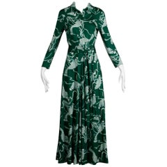 Green Novelty Print Vintage Maxi Dress with an Op Art Koi Fish Print, 1970s