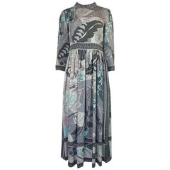1960s Bessi Silk Jersey Print Dress in Grey & Soft Pastels