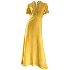 Beautiful 1970s Does 1940s Size 10 12 Canary Yellow Silk Sequin Maxi Dress Gown