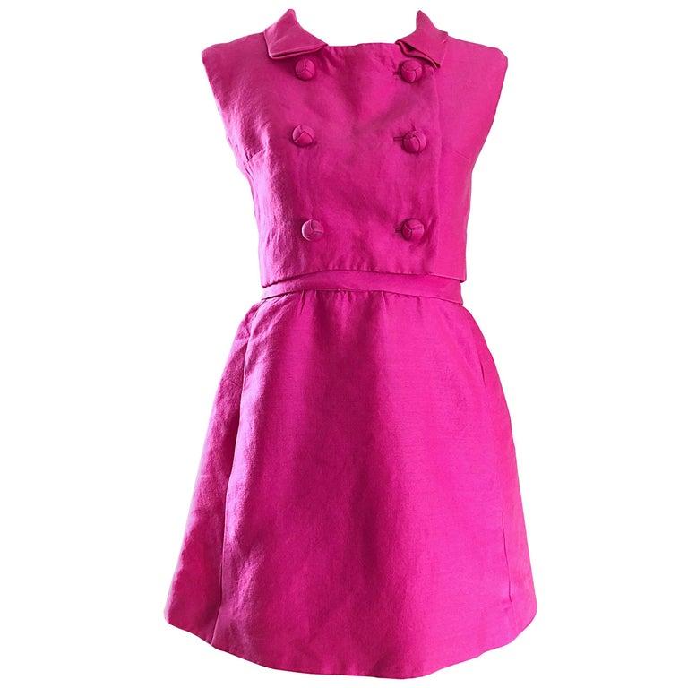 1960s B. Altman Bubblegum Pink Raw Silk Vintage 60s A - Line Dress + Crop Top