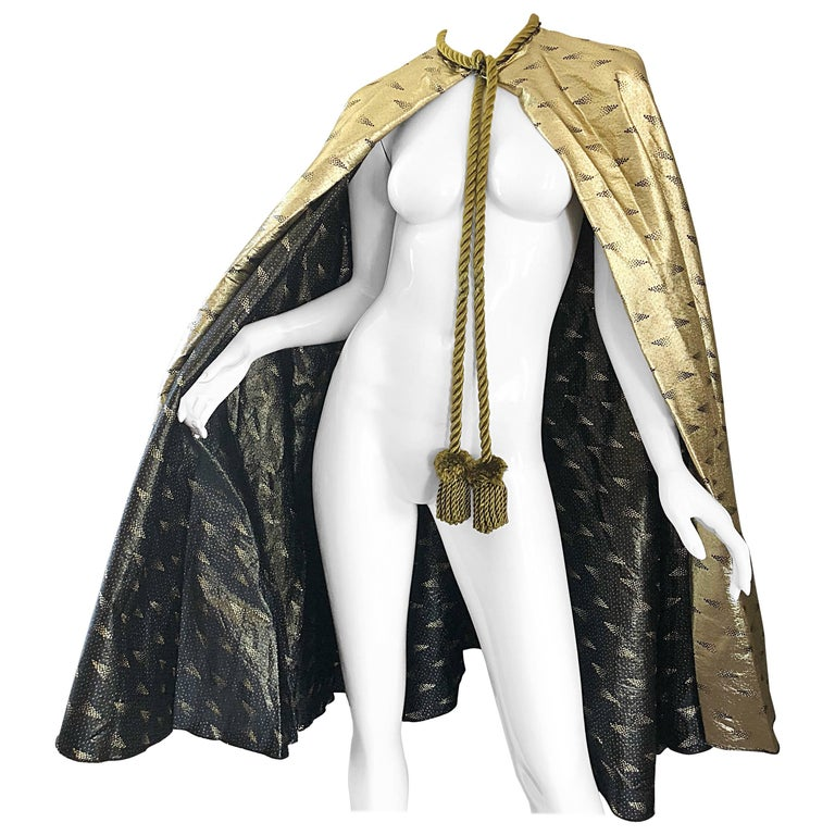 Amazing 1970 Reversible Gold and Black Metallic Vintage 70s Avant Garde Cape