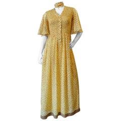I. Magnin Silk Floral Maxi Dress