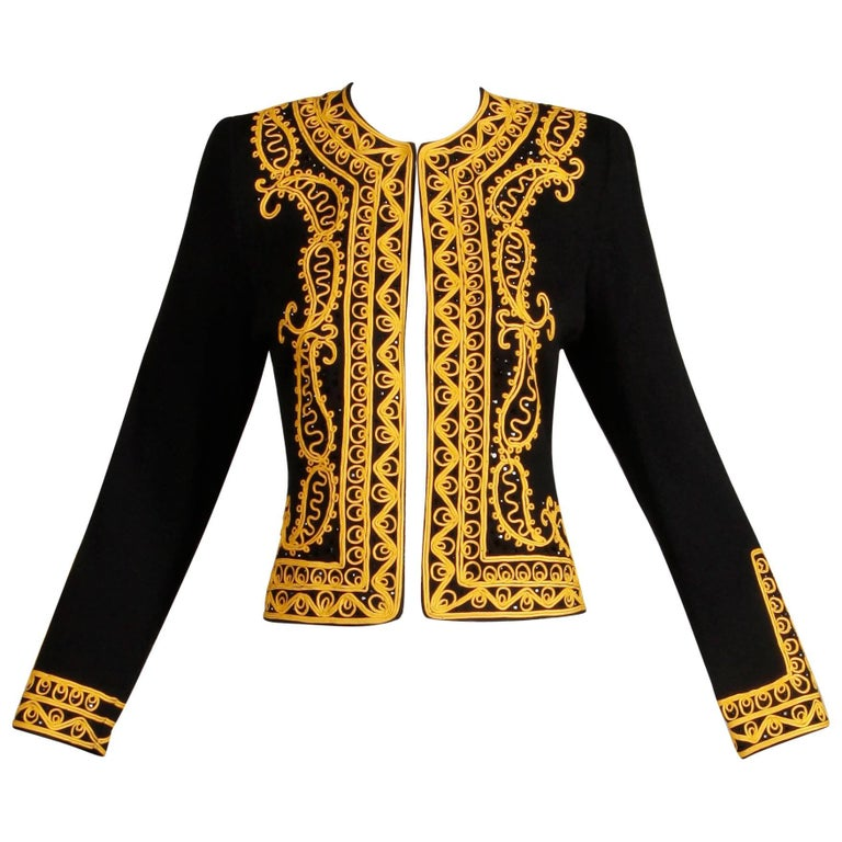 Adolfo Vintage Black Beaded Knit Cardigan Sweater Jacket with Gold Embroidery For Sale