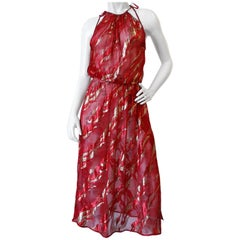 Saint Laurent Rive Gauche Red Sheer Printed Halter Dress, 1980s