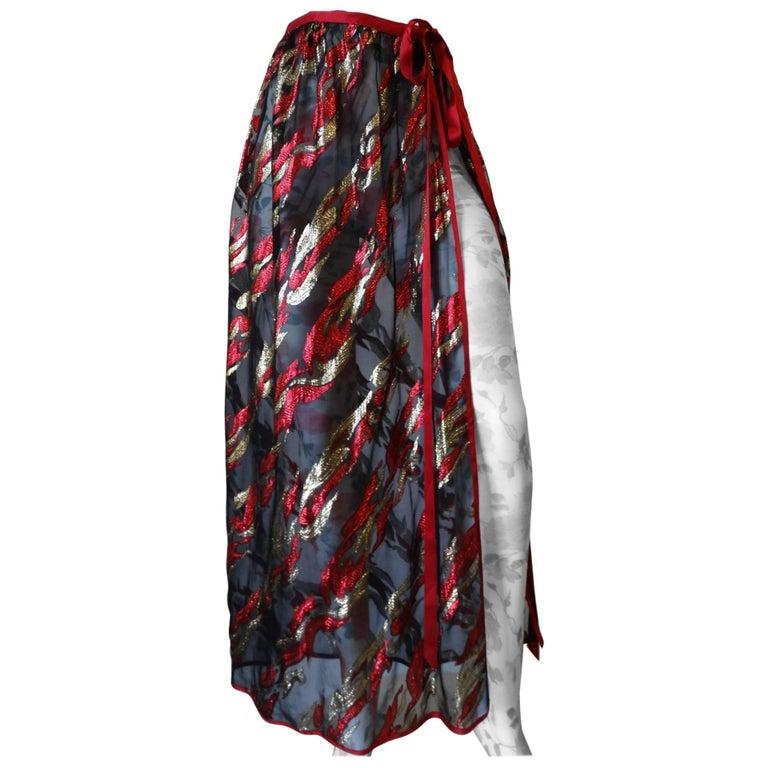 Saint Laurent Rive Gauche Printed Sheer Maxi Skirt, 1980s