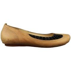 DRIES VAN NOTEN Size 8.5 Tan & Black Patent Leather Flats