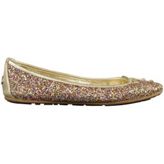 JIMMY CHOO Size 8 Gold Leather Multi Color Glitter Ballet Flats